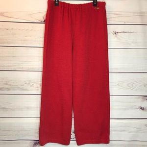 St. John Red Wool Blend Santana Knit Pants